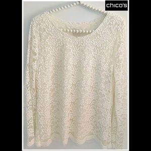 CHICOS Lovely Cream Lace Top Lined Scalloped Sz. 1